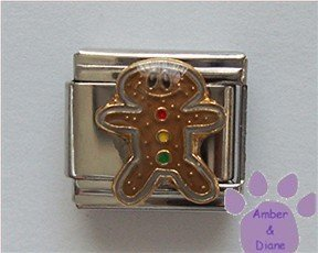Gingerbread Man Italian Charm with Gumdrop Buttons