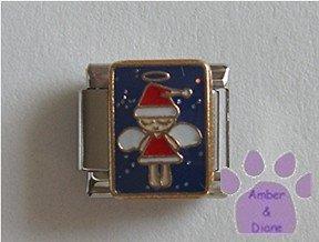 Christmas Angel Italian Charm in a Santa Suit