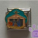 Nativity Scene Italian Charm Stable with gold tone Star above