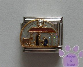 Nativity Scene Italian Charm Stable with white crystal Star