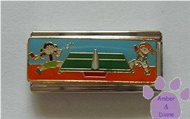 Kids Playing Table Tennis Super Link Italian Charm Ping Pong