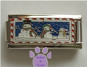 Snowman Family Super Link Italian Charm with a snowy background