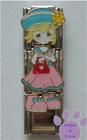 Little Girl Triple Link Italian Charm - pink dress and red purse