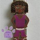Triple Link Little Black Girl Italian Charm purple top & pantS