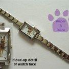 German Shepherd Dog Rectangular Italian Charm Silvertone Watch