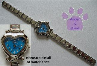 Blue Heart Italian Charm Silvertone Watch with crystal on face