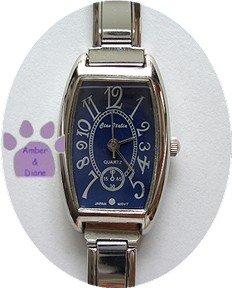 Dark Blue Rectangular Silver tone Italian Charm Watch