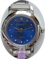 Electric Blue Silvertone Italian Charm Watch with 15 links