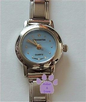 Light Blue Silvertone Italian Charm Watch with 15 links