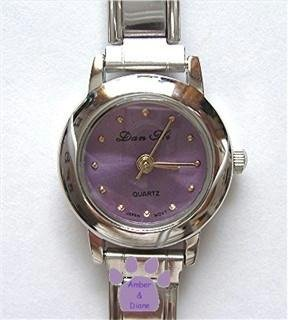 Light Lavender Silvertone Italian Charm Watch with 15 links