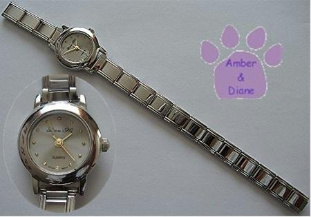 Pale Silver Gray Silvertone Italian Charm Watch with 15 links