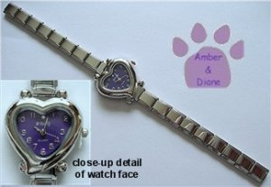 Purple Heart Italian Charm Silvertone Watch with crystal on face