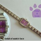 Purple Rectangular Silvertone Italian Charm Watch with 16 links