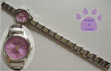 Round Deep Pink Silver tone Italian Charm Watch