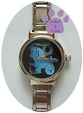 Zodiac Silvertone Italian Charm Watch CAPRICORN Dec 22 to Jan 19