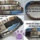 Blue Rubber Italian Charm Starter Bracelet that Snaps Open