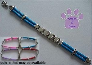 Blue Rubber Italian Charm Starter Bracelet with Lobster Claw