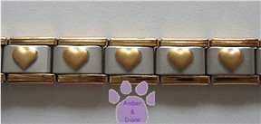 GOLDTONE Edge and Puffed Hearts Italian Charm Starter Bracelet