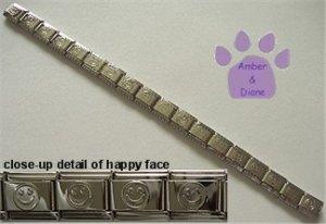 Shiny Silvertone Puffed Smiley Italian Charm Starter Bracelet