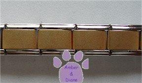 Silvertone Italian Charm Starter Bracelet with MATTE GOLD CENTER