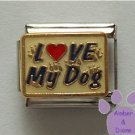 LOVE My Dog Italian Charm on blue enamel Red Heart and Pawprints