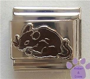 Adorable Dark Brown Mouse Italian Charm