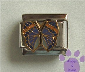 Butterfly Italian Charm Blue, Lavender and Gold Wings