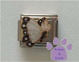 April BUTTERFLY Birthstone with white-diamond glitter wings