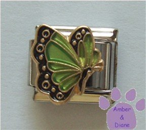 August BUTTERFLY Birthstone with green-peridot colored wings