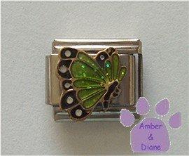 August BUTTERFLY Birthstone with green-peridot glitter wings