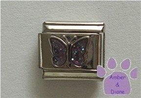 Glitter Butterfly Birthstone Italian Charm Alexandrite June