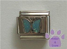 Glitter Butterfly Birthstone Italian Charm Aquamarine-blue March
