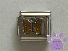 Glitter Butterfly Birthstone Italian Charm Topaz-Yellow November