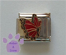 July BUTTERFLY Birthstone with red-ruby color wings