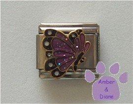 June BUTTERFLY Birthstone lavender-alexandrite pearl glitter wings