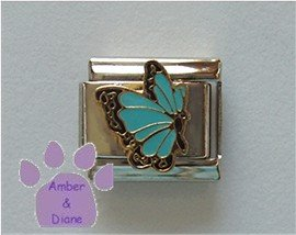 March BUTTERFLY Birthstone light blue-aquamarine color wings