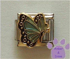 March BUTTERFLY Birthstone pale blue-aquamarine colored wings