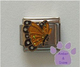 November BUTTERFLY Birthstone with golden-topaz glitter wings
