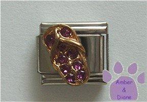 Flip Flop Crystal Birthstone Italian Charm Amethyst-Purple  February