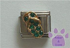 Flip Flop Crystal Birthstone Italian Charm Emerald-Green for May