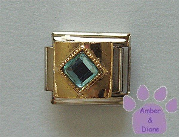 Diamond Shaped Aquamarine Crystal Birthstone Italian Charm March