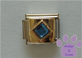 Diamond Shaped Sapphire Crystal Birthstone Italian Charm September