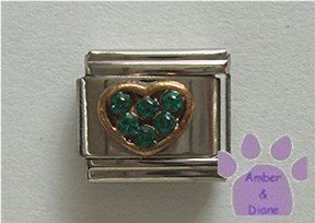 Heart Crystal Birthstone Italian Charm Emerald-Green for May