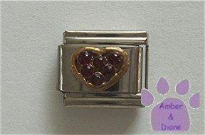 Heart Crystal Birthstone Italian Charm Garnet-Red for January