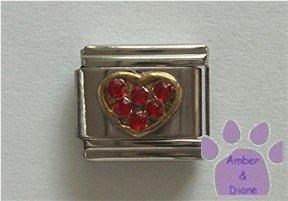 Heart Crystal Birthstone Italian Charm Ruby-Red for July