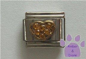 Heart Crystal Birthstone Italian Charm Topaz-Yellow for November