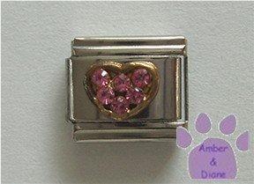 Heart Crystal Birthstone Italian Charm Tourmaline-Pink for October