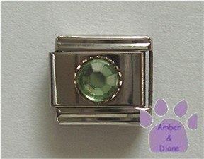 Round Crystal Birthstone Italian Charm Peridot-Green for August
