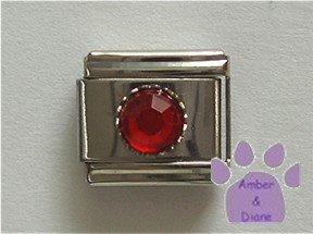 Round Crystal Birthstone Italian Charm Ruby-Red for July