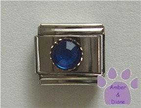 Round Crystal Birthstone Italian Charm Sapphire-Blue for September